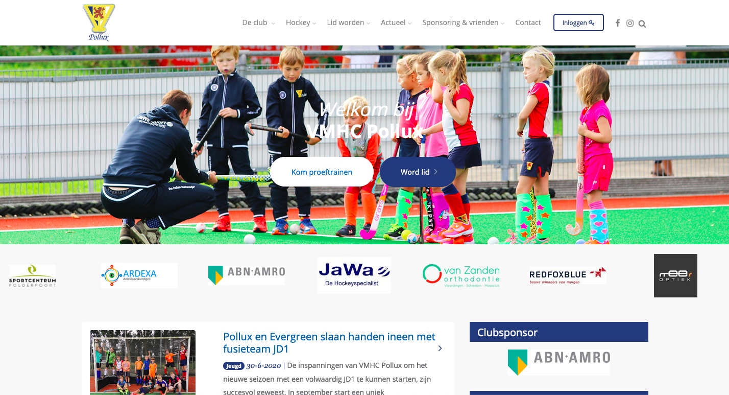 Screenshot nieuwe website
